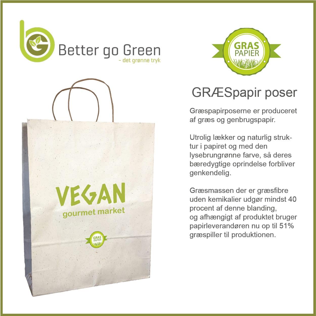 Græspapir poser med logo tryk. BetterGoGreen.dk