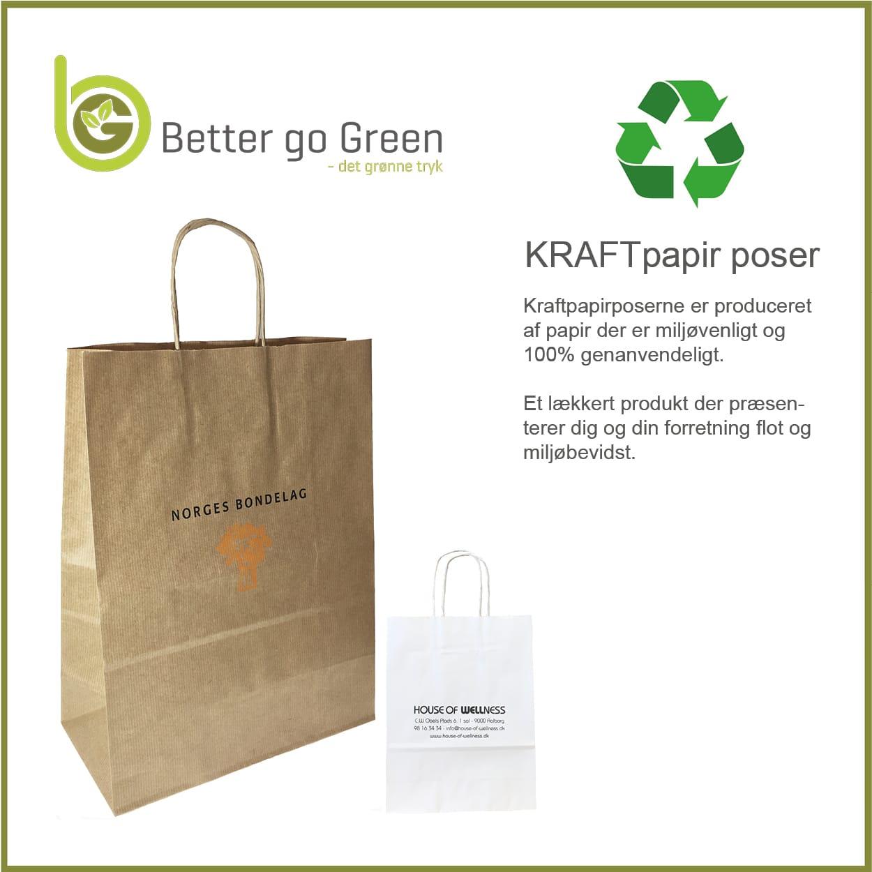 Miljøvenlige kraftpapirposer, 100% genanvendelig. Få dem med dit desig og logotryk. BetterGoGreen.dk