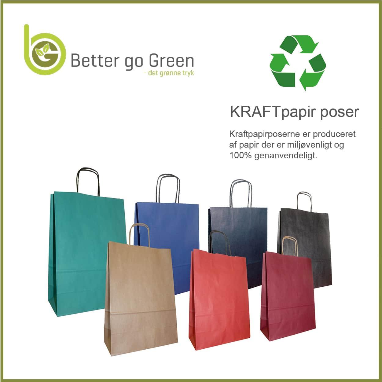 Miljørigtige kulørte papirposer med logo tryk, få dem hos BetterGoGreen.dk