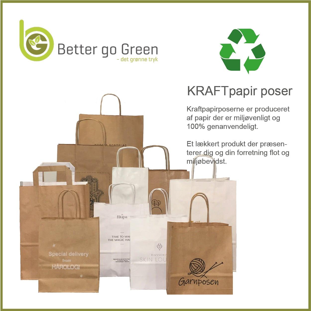 Miljørigtige papirposer med logo tryk, få dem hos BetterGoGreen.dk