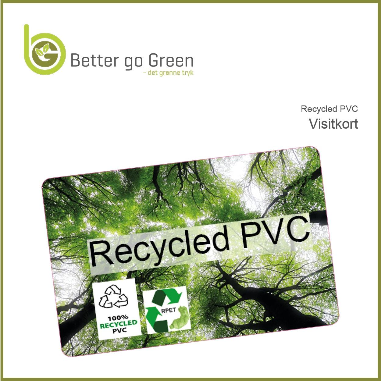 Visitkort af 100% RECYCLED PVC. BetterGoGreen.dk