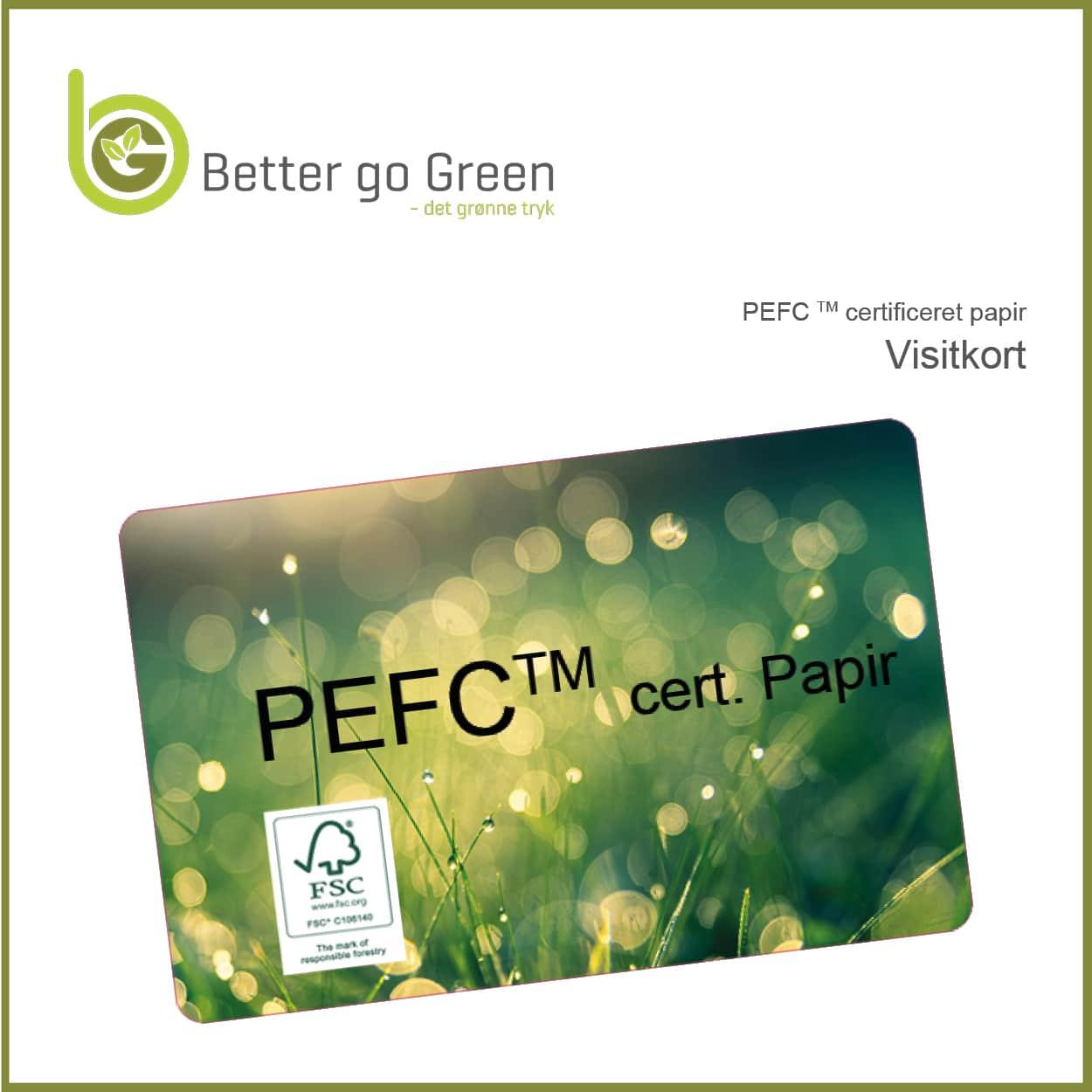 Visitkort af PEFC tm certificeret papir. BetterGoGreen.dk