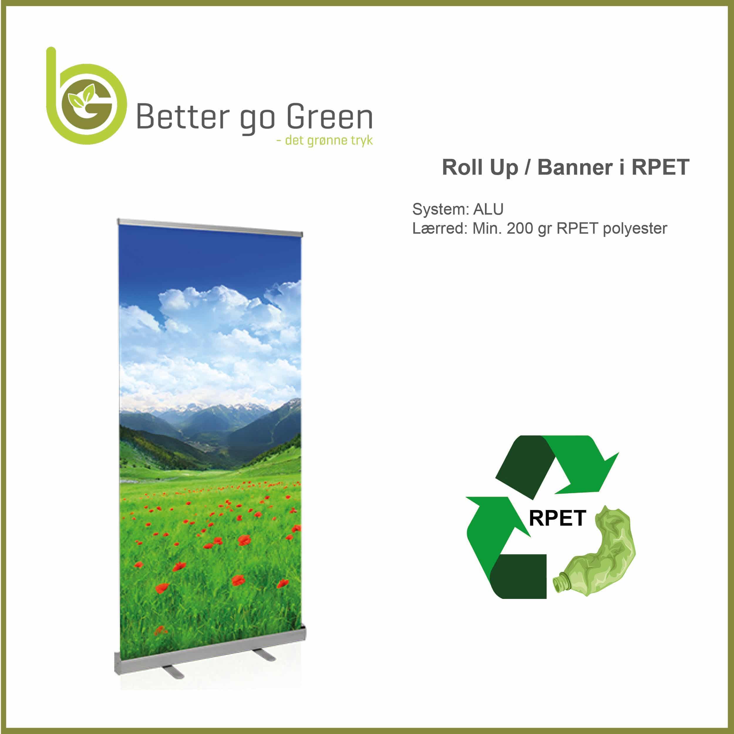 PREMIUM Roll Up med banner af RPET, genanvendt plast, BetterGoGreen.dk